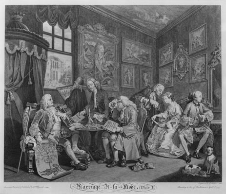 Marriage a la Mode, Plate I, The Marriage Settlement, 1745
