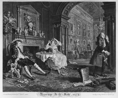 Marriage a la Mode, Plate II, The Tete a Tete, 1745