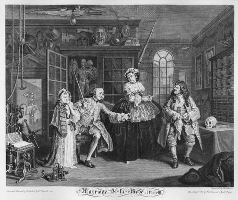 Marriage a la Mode, Plate III, The Inspection, 1745