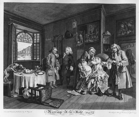 Marriage a la Mode, Plate VI, The Lady's Death, 1745