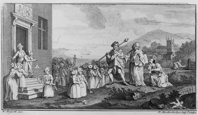The Foundlings, engraved by Francois Morellon La Cave, 1739