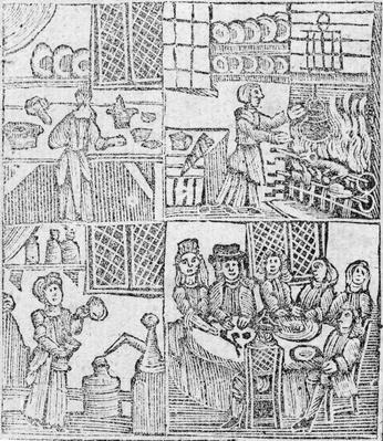 Kitchen Interiors, an illustration from 'A Book of Roxburghe Ballads'