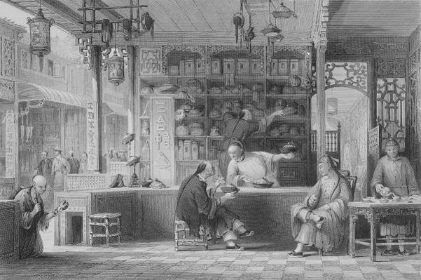 Cap Vendor's Shop, Canton, from 'China in a Series of Views' by George Newenham Wright, 1843
