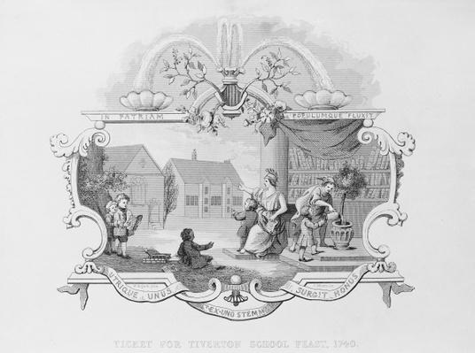 Ticket for the Tiverton School Feast, 1740, engraved by J. Moore