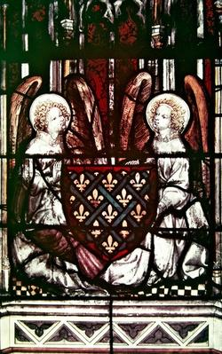 Angels carrying a heraldic shield with the arms of the Duke of Berry
