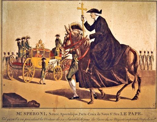 Monsignor Speroni carrying the papal cross, precedes Pope Pius VII on their way to Notre-Dame Cathedral, Paris, for the coronation of Emperor Napoleon and Empress Josephine on 3 November 1804