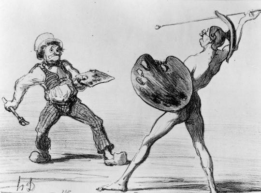 'Battle of the Schools - Idealism and Realism', illustration from the series 'Fantaisies', published in 'Charivari', 24 April 1855 by Daumier, Honore (1808-79)