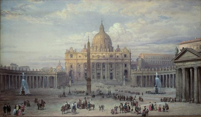 Exterior of St. Peter's, Rome, from the Piazza, 1868