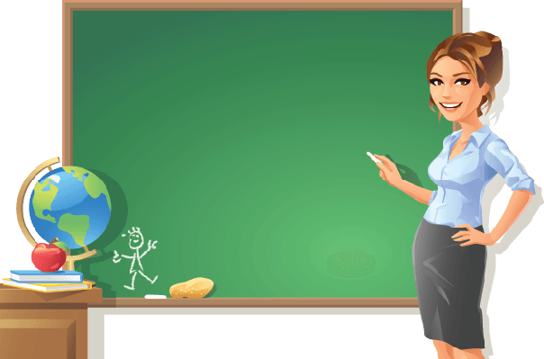 Female Teacher at Blackboard | Clipart