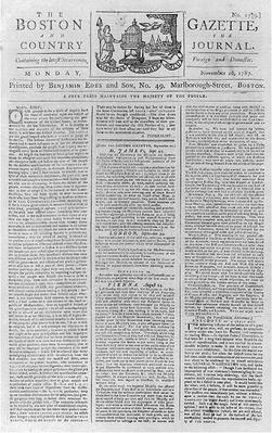 Front Page of The Boston Gazette