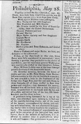 Newspaper Article, 1787