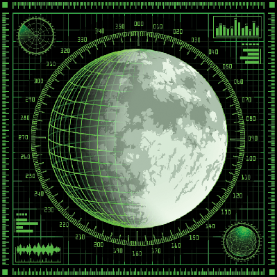 Radar Screen With Moon | Clipart