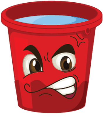 Buckets with Faces - Red, Angry | Clipart