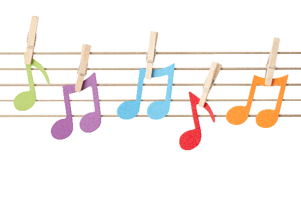 Musical Notes Pegged to String Stave | Clipart