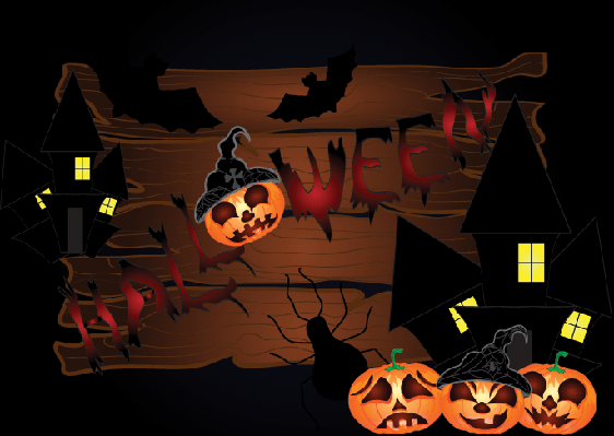 Halloween Night Background With Wood and Pumpkins | Clipart