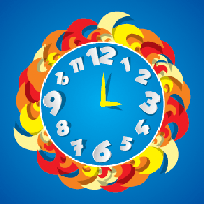 Abstract Coloured Clock | Clipart