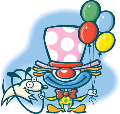 Clown With Balloons and Dog (Color) | Clipart