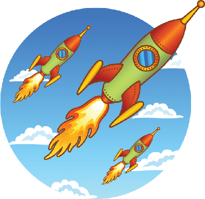 Vintage, Old Rockets on a Sky Background | Clipart