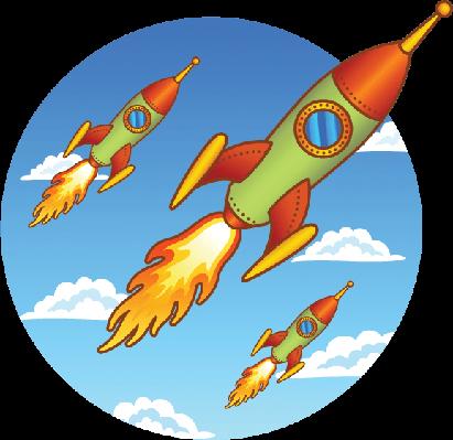 Vintage, Old Rockets on a Sky Background | Clipart