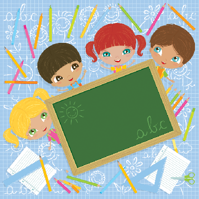 Cheerful Schoolkids With Blackboard | Clipart