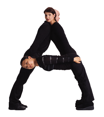Three Young Adults Dressed in Black Form the Letter A | Clipart