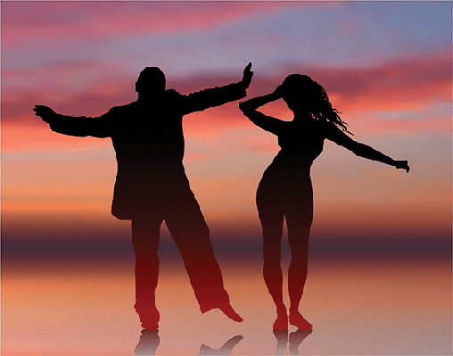 Man and Woman Dancing on Summer Sunset Background | Clipart