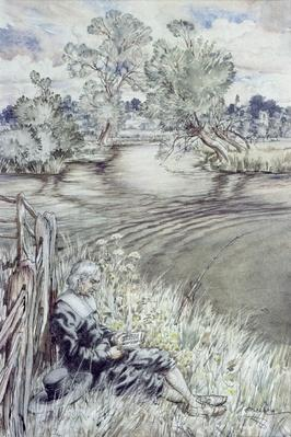 Izaak Walton reclining against a Fence, from 'The Compleat Angler' by Izaak Walton, 1931