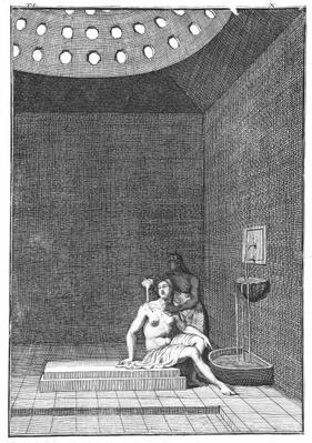 A Turkish Bath, illustration from Aubry de la Mottraye's 'Travels through Europe, Asia and into part of Africa', published 1723