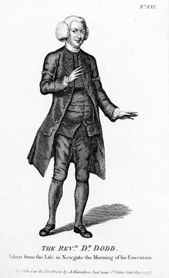 The Rev. Dr. Dodd, taken from the Life in Newgate the Morning of his Execution, 1777