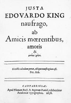 Titlepage to 'Justa Edouardo King naufrago ab Amicis moerentibus, amoris & ...' , published 1638