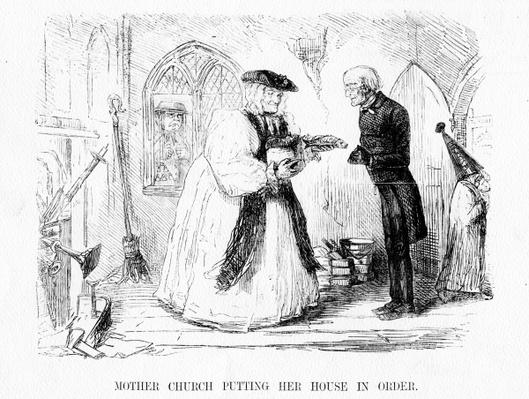 Mother church putting her house in order, cartoon from 'Punch', 1850