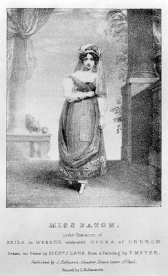 Mary Ann Paton as Reiza in Weber's 'Oberon', engraved by Richard James Lane, c.1826