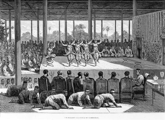A Dance Performance in Cambodia, illustration from 'Voyage d'exploration en Indochine' by Francis Garnier, published in 1873