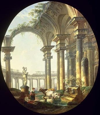 Shepherds with Animals in a Classical Landscape