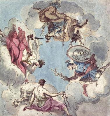 Design for a Ceiling: The Four Cardinal Virtues, Justice, Prudence, Temperance and Fortitude