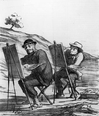 Cartoon lampooning landscape painters, from 'Charivari' magazine, 12 May, 1865