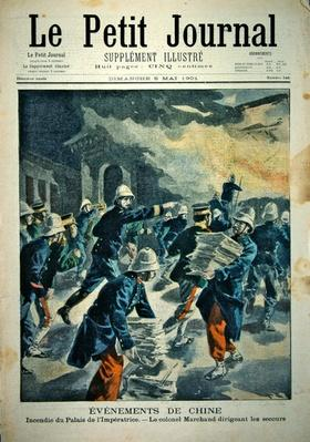 Burning of the Imperial Palace in Peking during the Boxer rebellion of 1900-01, cover illustration of 'Le Petit Journal', 5 May, 1901