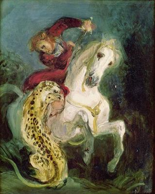 Jaguar Attacking a Horseman, c.1855