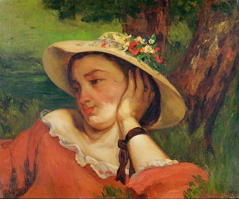 Woman in a Straw Hat with Flowers, c.1857