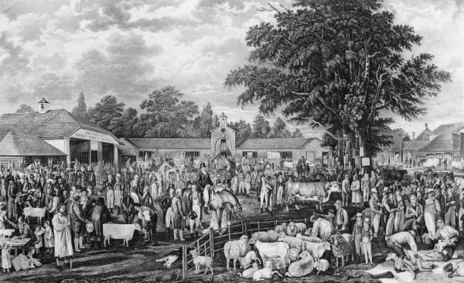 Woburn Sheepshearing, engraved by Thomas Morris, 1811