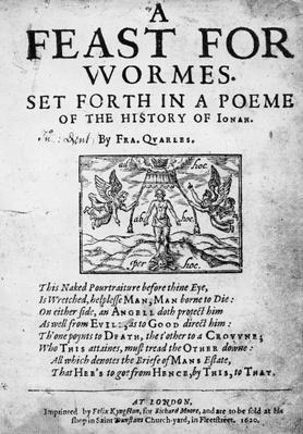 Title page to 'A Feast for Worms, set forth in a Poem of the History of Jonah' by Francis Quarles, 1620