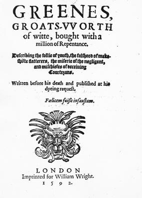 Titlepage to 'Greene's Groats-Worth of Wit', attributed to Robert Greene, published in 1592