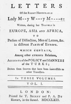 Titlepage to 'Letters of the Right Honourable Lady Mary Wortley Montagu, written during her travels in Europe, Asia and Africa', published in 1763