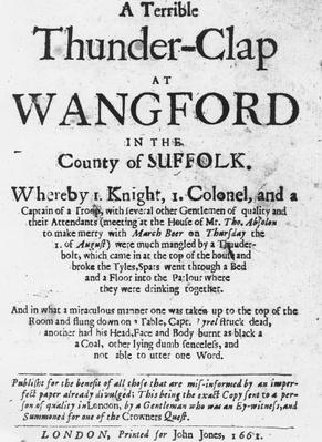 Titlepage of the pamphlet 'A Terrible Thunder-Clap at Wangford in the County of Suffolk', published in 1661