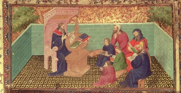 Royal 15 D III, f.285: Solomon dictates the Proverbs, from the Bible Historiale by Guyart des Moulins