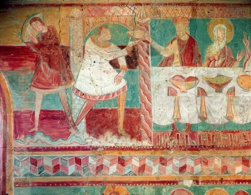 Servants bringing a jar of wine and offering a cup to a guest at the Marriage at Cana, from the South wall of the Choir, 12th century