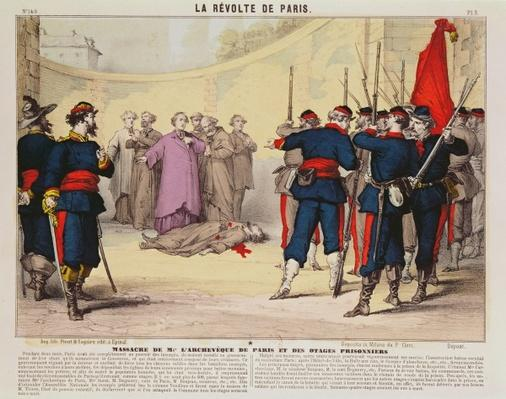 Execution of the Archbishop of Paris, Monseigneur Darboy, during the Paris Commune, 1871