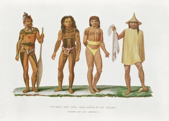 Natives of the islands of Iros, Penelap and Aouara in the Caroline Islands archipelago