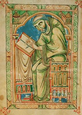 Ms R 17 I f.283v Monk Eadwine at work on the manuscript, Eadwine Psalter, c.1150