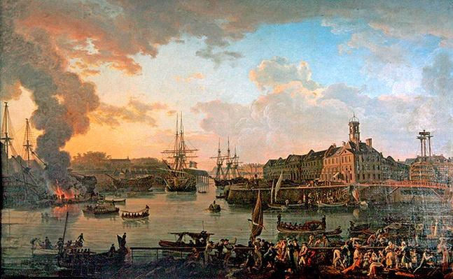 View of the port of Brest from the covered docks in 1795, 1795